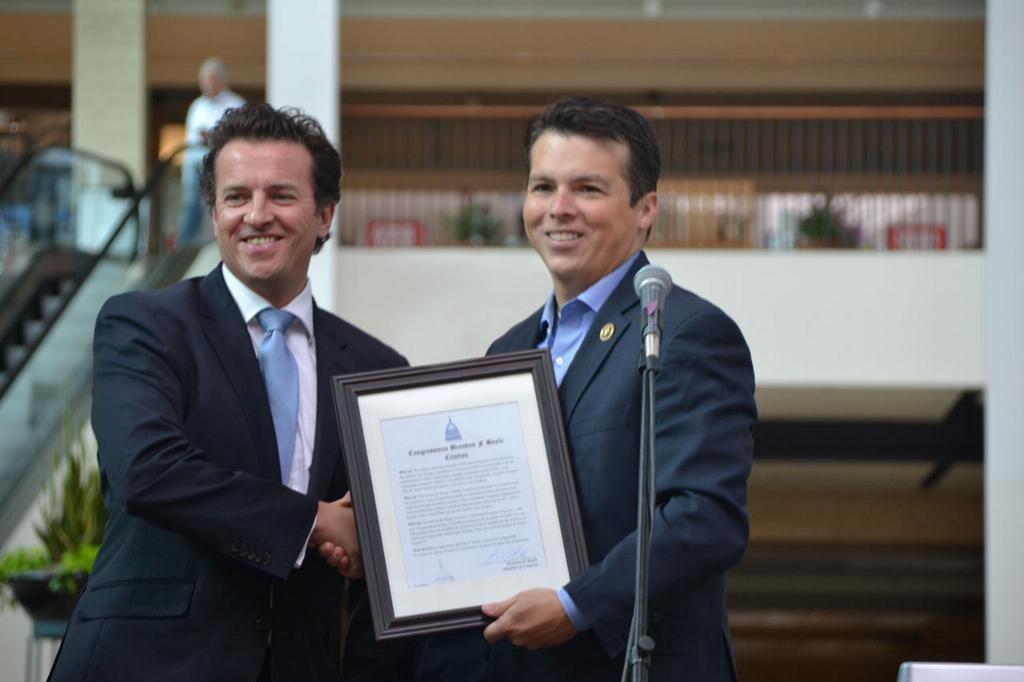 Dr. John McKeon, CEO of Allergy Standards receives a congressional citation from Congressman Brendan F Boyle