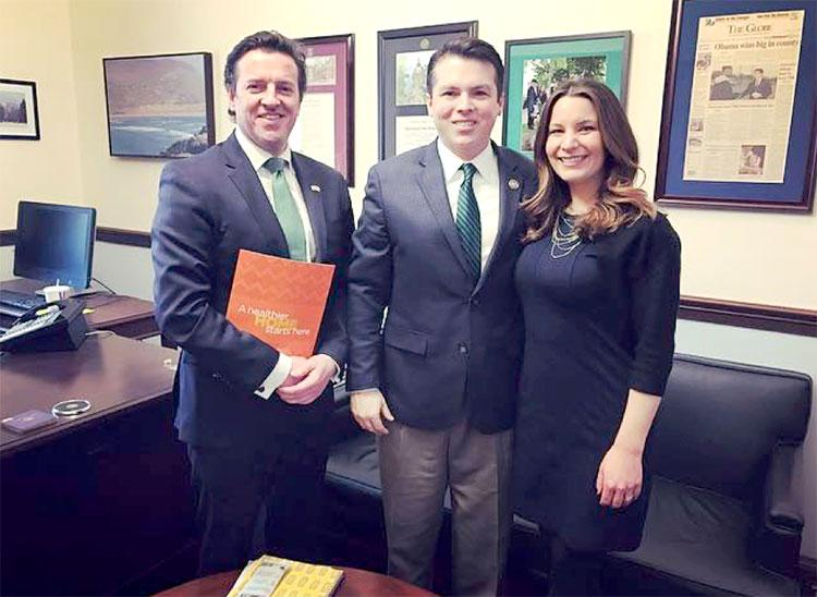 Dr. John McKeon (left), Congressman Brendan Boyle (center) and Courtney Sunna (right)