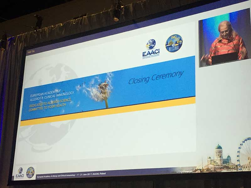 EAACI 2017 closing ceremony
