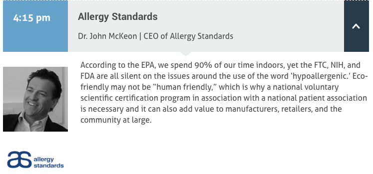 Dr John McKeon, Allergy Standards' CEO, Key Speaker at the Cleaning Products US Conference 2017