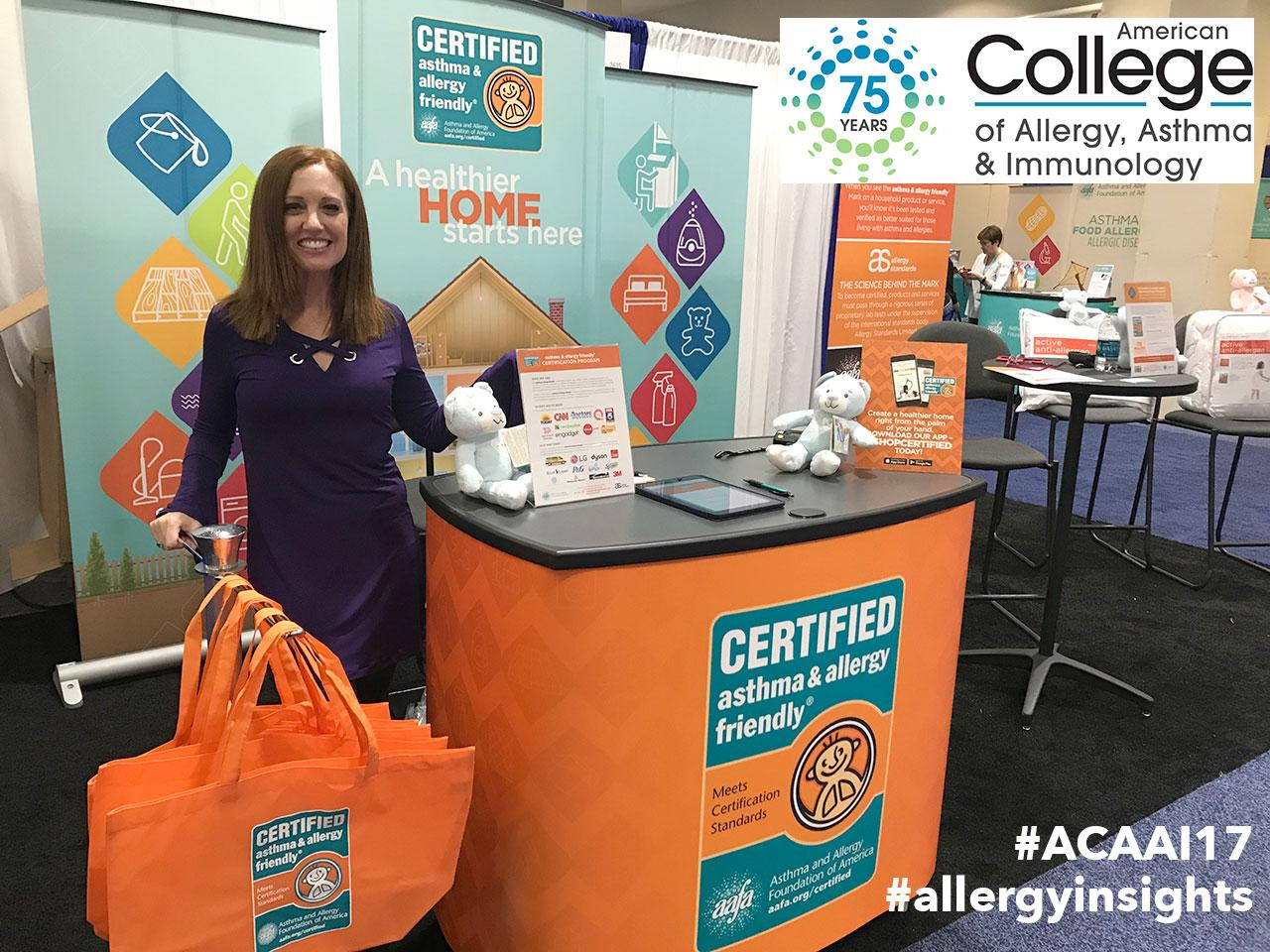 Michele Cassalia showcasing the asthma & allergy friendly Certification Program at the booth, ACAAI 2017