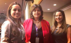 Lea Daulan and Courtney Sunna with Nata Menabde, Executive Director of the World Health Organisation