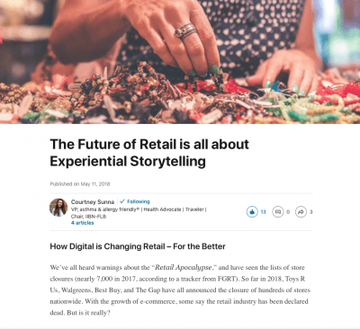 The Future of Retail is all about Experiential Storytelling - Article by Courtney Sunna