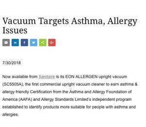 Sanitaire EON allergen certified asthma & allergy friendly®