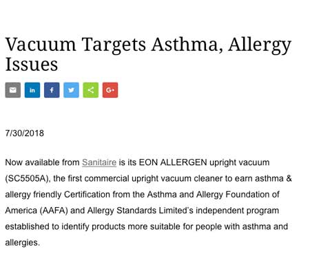 Sanitaire EON allergen certified asthma & allergy friendly®