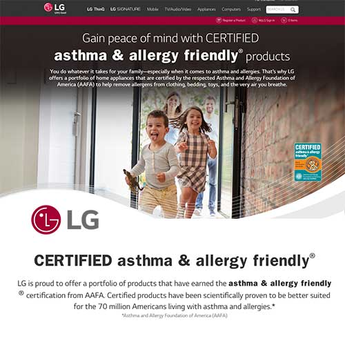 LG asthma & allergy friendly® micro site