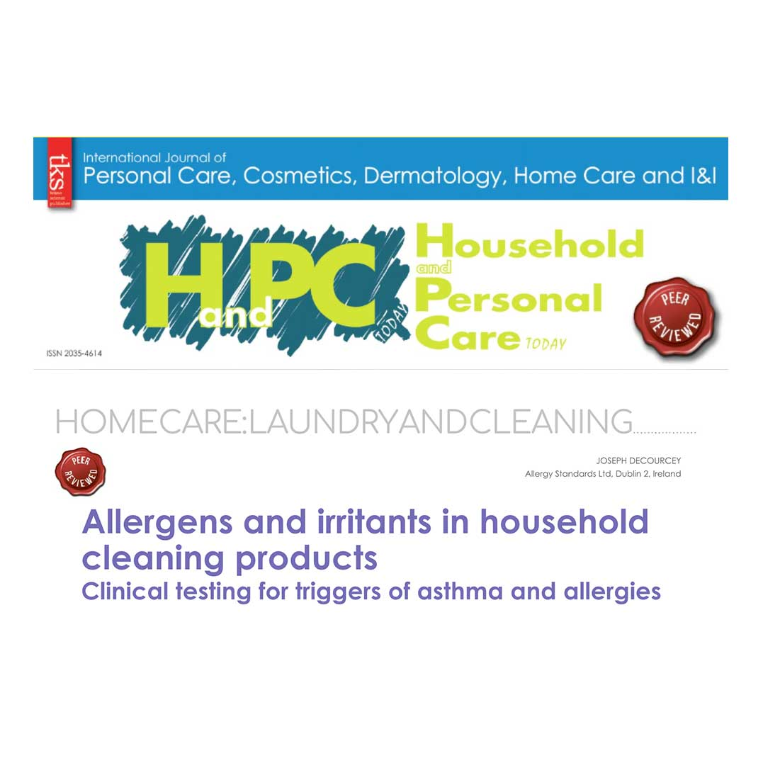 Dr Joey DeCourcey Allergy Standards scientific article Household and Personal Care Today TKS Journal