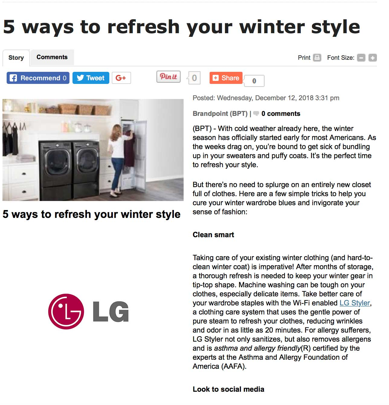 LG CERTIFIED Styler, Steam Clothing Care