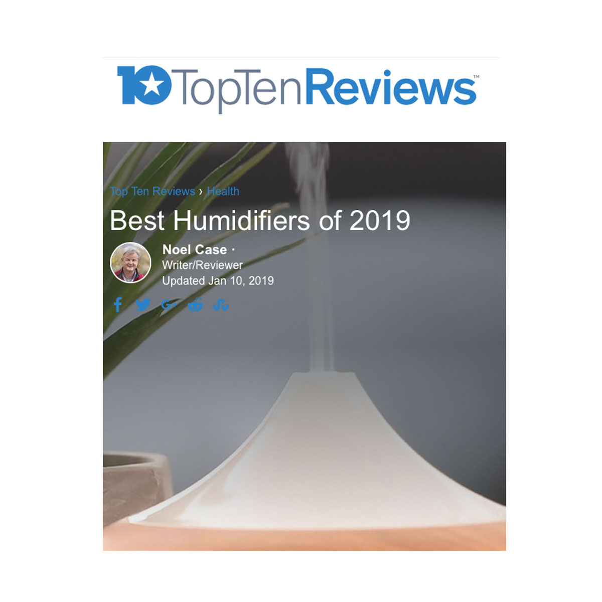 TopTen Reviews Best Humidifiers 2019 asthma & allergy friendly Certification Program