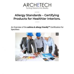 Archetech Certifying Products for Healthier Interiors Dr. Joey DeCourcey Allergy Standards