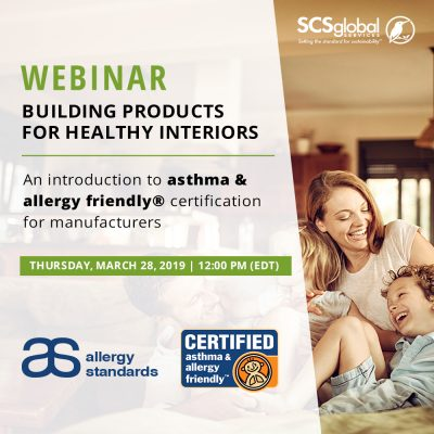 SCS Global Services Allergy Standards Webinar asthma & allergy friendly Certification Program