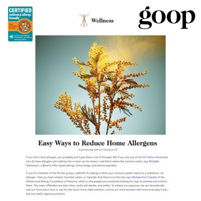 Goop article with asthma & allergy friendly Certification Program