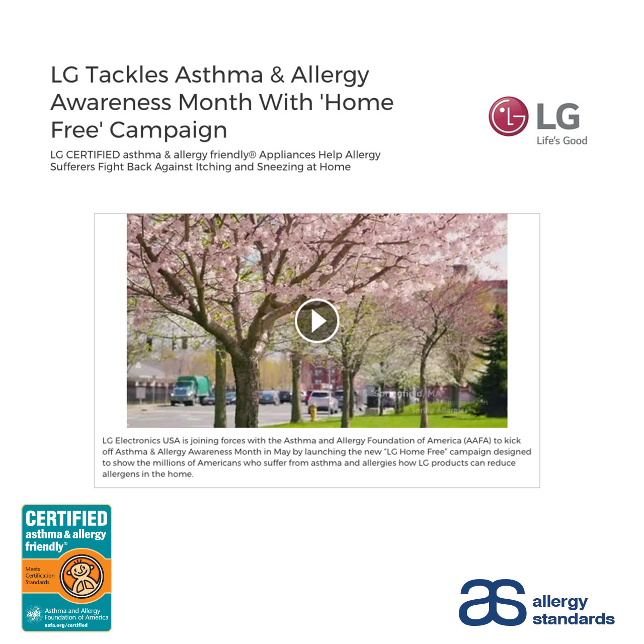 LG Home Free Campaign Allergy Standards