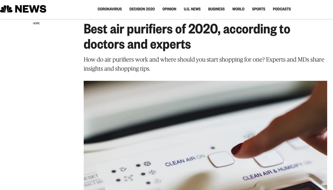 NBC News air purifier article